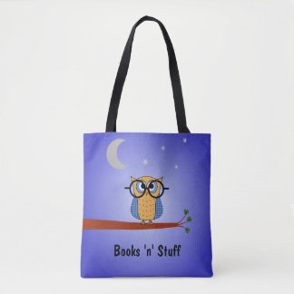 Cute night owl custom text book tote bag