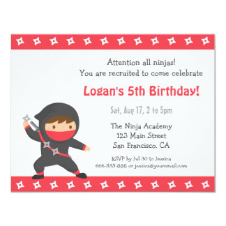 Cute Ninja Kids Birthday Party Invitations