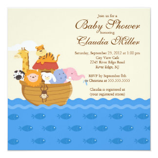 """Cute Noah""""s Ark Baby Girl or Baby Boy Shower 5.25x5.25 Square Paper Invitation Card"""