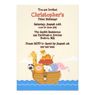 Cute Noah s Ark Gender Neutral Birthday Invitation