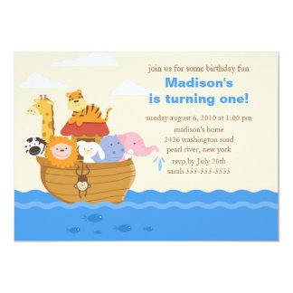 Cute Noah's Ark 1st Birthday Card