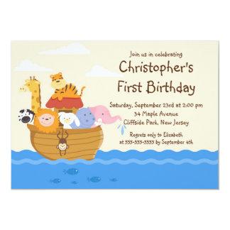 "Cute Noah's Ark Baby Animals Birthday Party 5"" X 7"" Invitation Card"