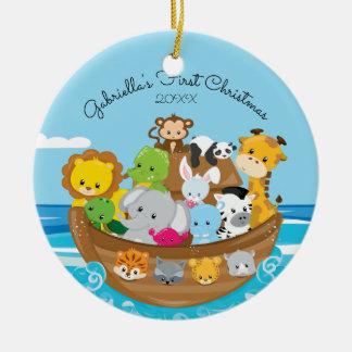 Cute Noah's Ark Baby's 1st Christmas Ornament