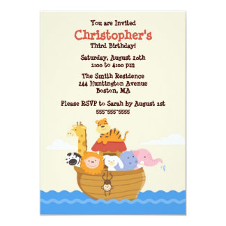 Cute Noah's Ark Gender Neutral Birthday Invitation