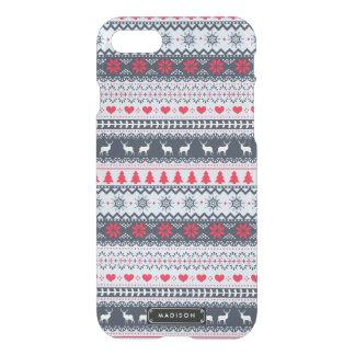 Cute Nordic Folk Holidays Navy Red Pattern Custom iPhone 8/7 Case