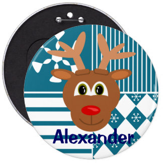 Cute Nose Reindeer Personalized Stocking Tag 6 Cm Round Badge