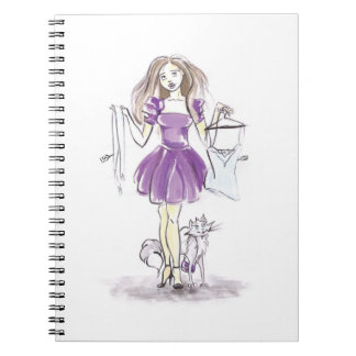 Cute Notebook Fashion Girl And Cat Shopping