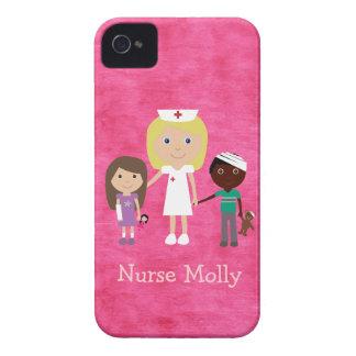 Cute Nurse and Children Pink Blackberry Case