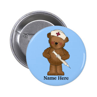 Cute Nurse Bear Button