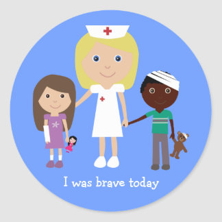 Cute nurse & kids I was brave today stickers