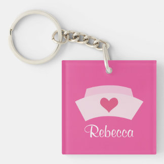 Cute Nurse Personalized Stocking Stuffer Grad Gift Key Ring