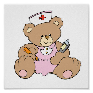 Cute Nurse RN Bear Poster