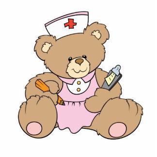 Cute Nurse RN Bear Standing Photo Sculpture