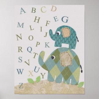 Cute Nursery wall art elephant alphabets Poster