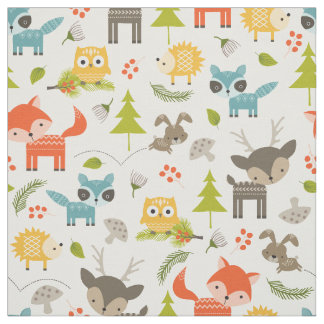 Cute Nursery Woodland Animals Fabric