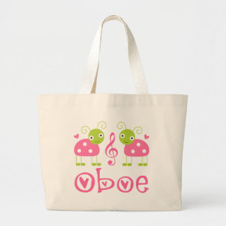 Cute Oboe Pink Ladybugs Large Tote Bag