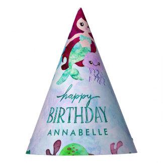 Cute Ocean Animals Mermaid Theme Happy Birthday Party Hat
