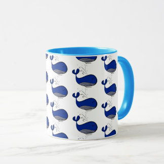 Cute Ocean Blue Whale Animal Pattern Coffee Mug