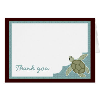 Cute Ocean Theme Baby Shower Blue Brown Thank You Card