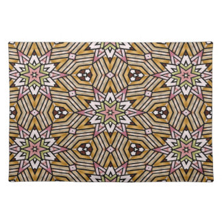 Cute Ochre Yellow Brown Pink Mosaic Pattern Placemat
