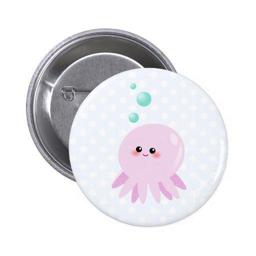 Cute octopus cartoon buttons