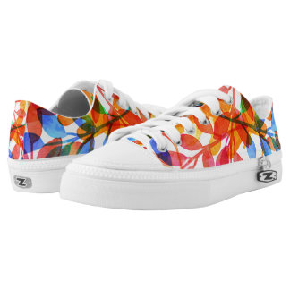 Cute of colored dry leaves printed shoes