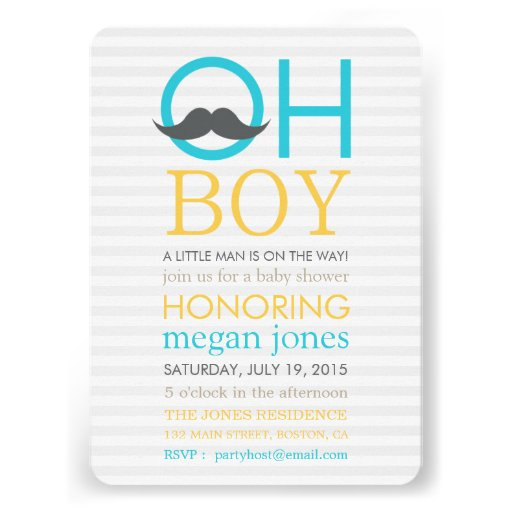 Cute Oh Boy Mustache Baby Shower Invitations Announcement