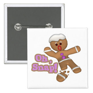 cute oh snap gingerbread man cookie pinback button