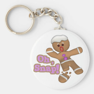 cute oh, snap gingerbread man cookie basic round button key ring
