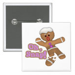cute oh, snap gingerbread man cookie button