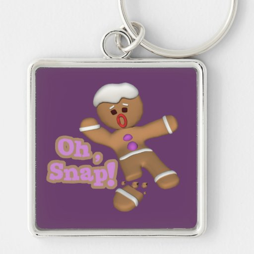 cute oh, snap gingerbread man cookie key chain