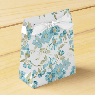 Cute Olive Green Aqua Turquoise Floral Watercolor Favour Box