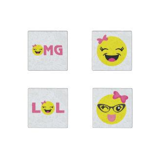 Cute OMG Emoji Girl Stone Magnet