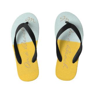 Cute On a Beach Yellow Mint Monogrammed Flip Flops