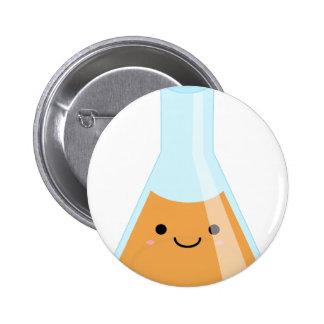 Cute orange alchemy kawaii flask 6 cm round badge