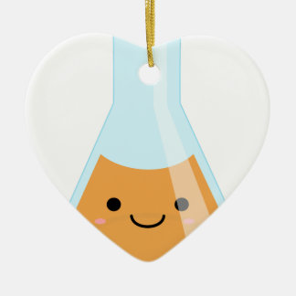 Cute orange alchemy kawaii flask ceramic heart decoration