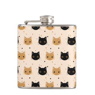 Cute Orange and Black Halloween Cat Pattern Hip Flask