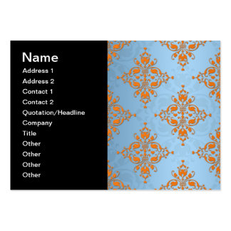 Cute Orange and Blue Damask Pack Of Chubby Business Cards