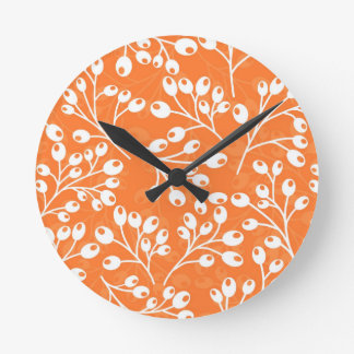 Cute orange and white autumn berries wall clock