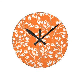 Cute orange and white autumn berries wall clock