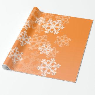 Cute orange and white Christmas snowflakes