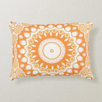 Cute Orange and Yellow Mandala Medallion Decorative Cushion