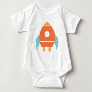 Cute Orange Baby Spaceship Rocket Baby Bodysuit