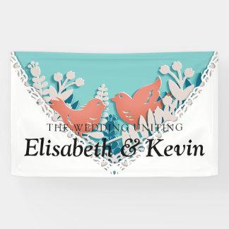 Cute orange birds origami cutout wedding banner