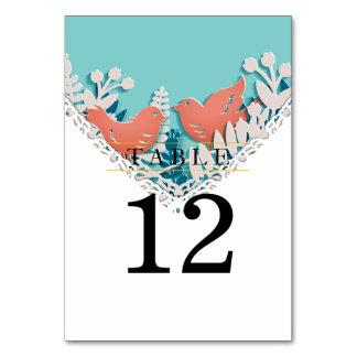 Cute orange birds origami cutout wedding card