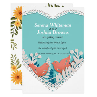 Cute orange birds origami cutout wedding card