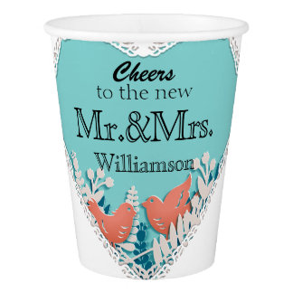 Cute orange birds origami cutout wedding paper cup
