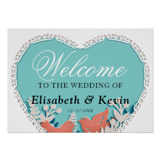 Cute orange birds origami cutout wedding poster