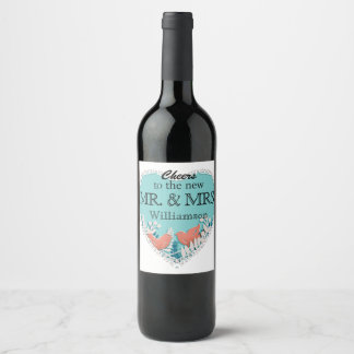 Cute orange birds origami cutout wedding wine label