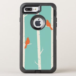 Cute Orange Birds Perched on Birch Trees OtterBox Defender iPhone 8 Plus/7 Plus Case